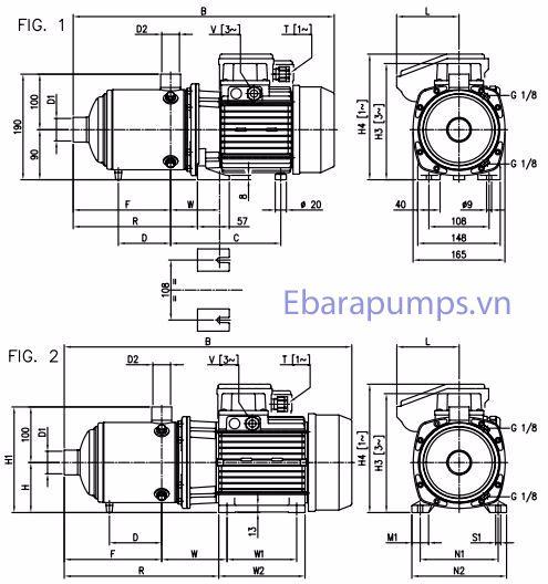 Cấu tạo máy bơm ly tâm trục ngang Ebara Matrix